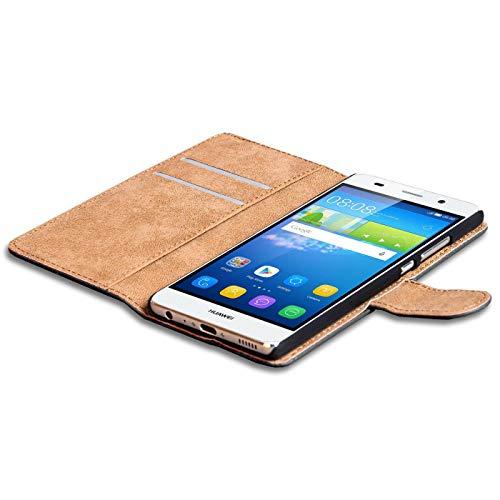 Verco Y6 2 Hülle, Handyhülle für Huawei Y6 II Tasche PU Leder Flip Case Brieftasche - Schwarz - 4