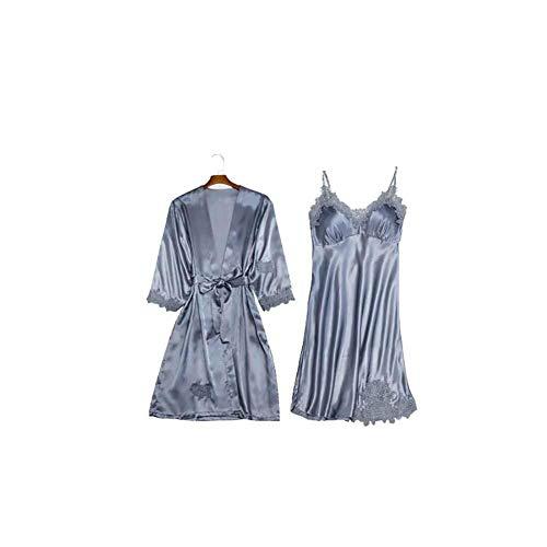 YIXIA Sexy Simulation Seide Braut-Pyjama Pyjama Sexy Dessous Pyjama Spitze Pyjama Satin Glatte Seide mit Brustpolstern Strapsen Damen Homewear Pyjama One Set Zweiteiliger Weinrot