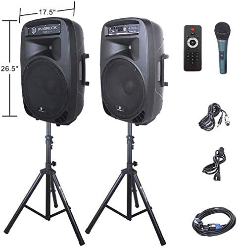 PRORECK New PARTY 15 15 Inch 2 Way Powered PA Speaker System Combo Set with Bluetooth USB SD product image