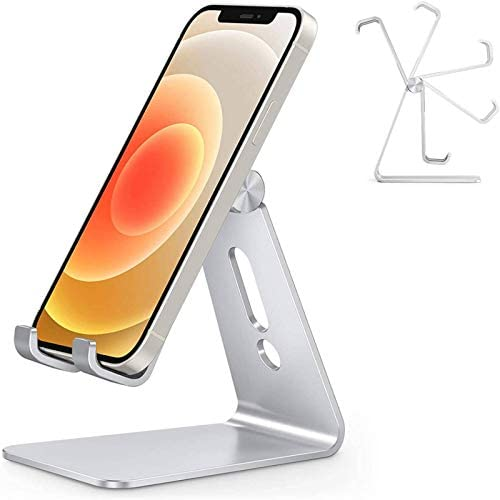 Adjustable Cell Phone Stand, OMOTON C2 Aluminum Desktop Phone Holder Dock Compatible with iPhone 11 Pro Max Xs XR 8 Plus 7 6, Samsung Galaxy, Google Pixel, Android Phones, Silver