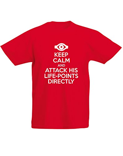 Keep Calm and Attack His Life-Points Directly, Enfant T-Shirt imprimé - Rouge/Blanc 5-6 Ans