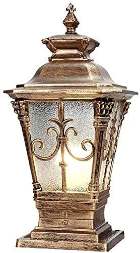Luces cilíndricas impermeables, luces de pilar de cristal de aluminio industrial, estilo retro europeo E27 luces de puerta al aire libre, chalet para el hogar Luces de la puerta de iluminación