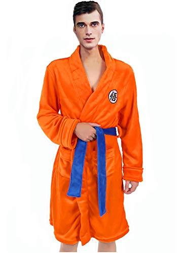 Bata de Baño para Hombres Pijamas Ropa de Dormir Super Suave Dragonballs Albornoz Chal Collar Ropa de Dormir Naranja