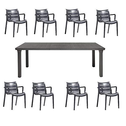 Tafel voor 3 uittrekbaar van 170 tot 195 tot 220 Kleur antraciet vierkante poten van gelakt aluminium, lattenbodem + 8 stoelen met armleuningen, Sunset, kleur antraciet