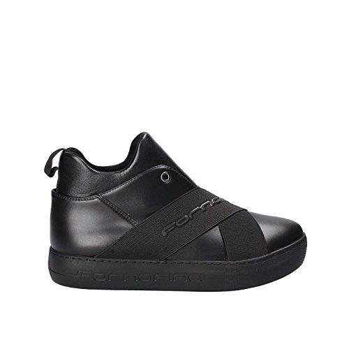 Fornarina Damen Yuma Sneaker, Schwarz (Black/Gunmetal), 36 EU