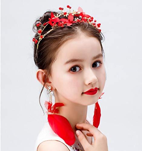 Meisjes Rode Veer Hoofdband Prestaties Catwalk Haaraccessoires Oorbellen Set Kinderen Verjaardag Headdress Haarband Studio Accessoires