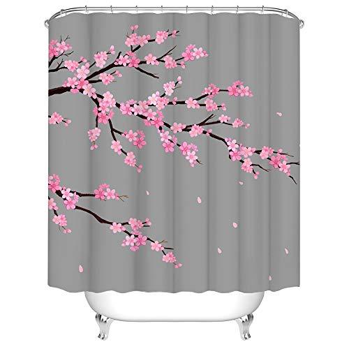 Grey & Pink Flower Shower Curtain Cherry Blossom