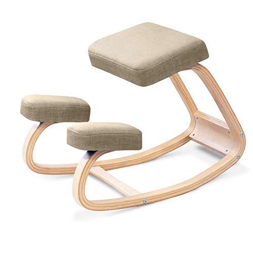 H&RB Ergonomica Sedia ergonomica, Indietro correzione della Postura Sgabello di Legno per L'Ufficio e la casa, a Dondolo Kneel Seduta con Cuscini ortopedici Soft Knee,Marrone