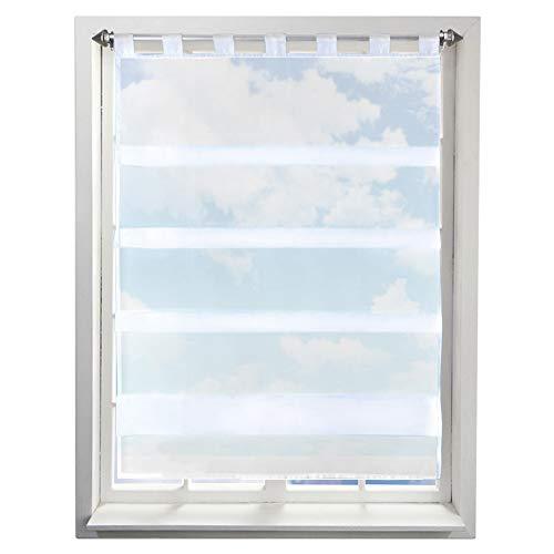 BAILEY JO Gardine mit Falten Schlaufen Gardinen Voile Lichtdurchlässig Vorhang (BxH 70x110cm, weiß)