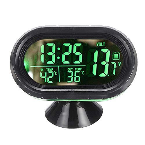 Lankater 1pc 3-in-1 Mini-Auto Führte Elektronische Digitaluhr-automobilthermometer Voltspannung Zeit Wecker Schwarz
