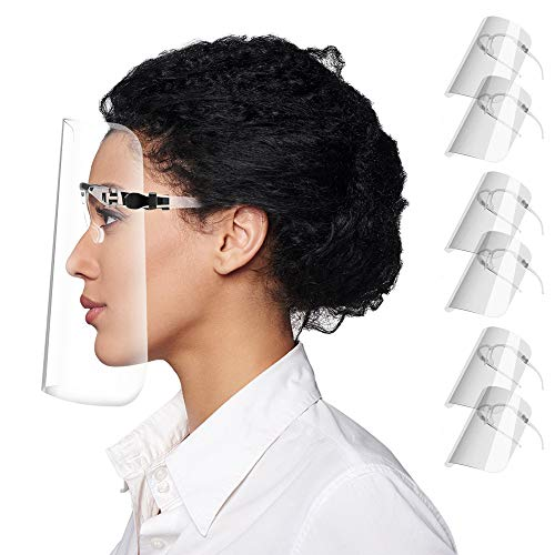 XDesign Safety Face Shield with Glasses Frame Full Face Protection (6 Pack) - Reusable Ultra Clear Protective Face Shields Anti-Fog Anti-Dust PET Plastic Droplet Splash Guard Transparent Cover 6 Pack