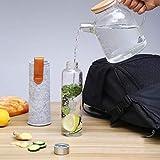 Cosumy Trinkflasche aus Glas mit Filzhülle für Unterwegs - 750ml Glasflasche - Auslaufsicher - Robustes Borosilikatglas - 6