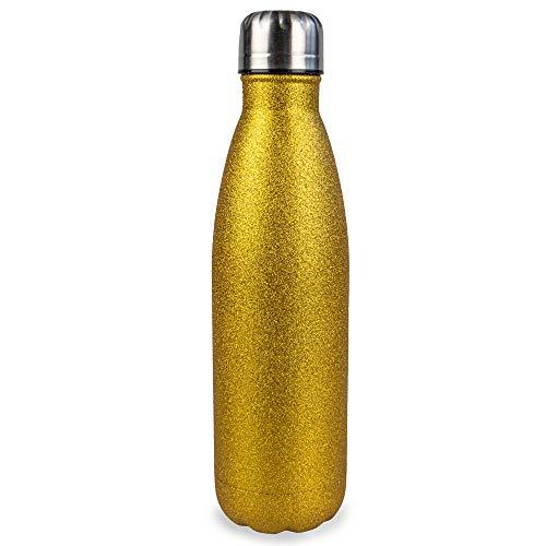 Myga 500ml Metaal Herbruikbare Geïsoleerde Vacuüm Roestvrij Staal Water Fles - Dubbelwandige Leak Proof BPA-vrije Drankjes Flesfles voor Outdoor Sport - Houdt warme en koude dranken - Goud Glitter