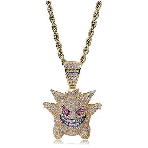 lulongyansf La Cadena del Collar del Rhinestone cristalino de Hip Hop heló hacia Fuera el Collar Plateado con Pokemon Killy Colgante Gengar con 24' Cuerda Inoxidable para Hombres Mujeres (Oro)