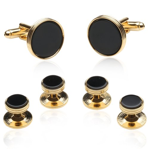 Cuff-Daddy Black Onyx and Gold Tone Cufflinks and Studs with Presentation Box