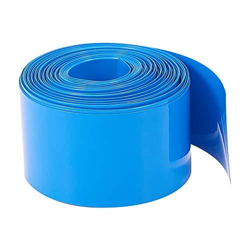 Othmro 18650 Battery Wrap Flattening Width:32mm,Length: 8m,Flat PVC Heat Shrink Tubing Tube Blue