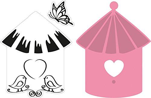 Marianne Design Fustella Collectables Casetta da Uccelli con Uccellini, Metal, Pink, 5.9x7.7x0.4 cm