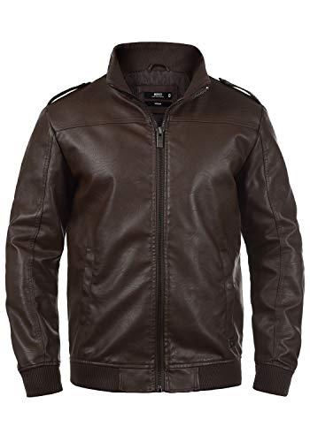 Indicode Conway Herren Lederjacke Bikerjacke Kunstleder, Größe:L, Farbe:Dark Brown (020)