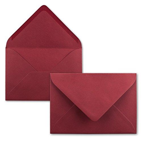 50 Brief-Umschläge - Dunkel-Rot - DIN C6-114 x 162 mm - Kuverts mit Nassklebung ohne Fenster für Gruß-Karten & Einladungen - Serie FarbenFroh®