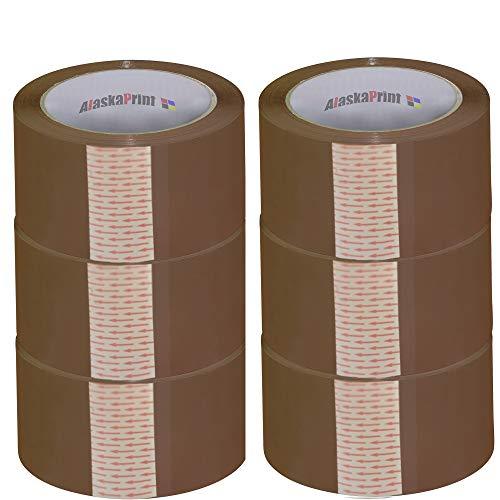 Alaskaprint 6 Rollen 48mm x 66m Braun Paket Klebeband Packet Paketklebeband Paketband Kleberolle Packband für Päckchen und Kisten