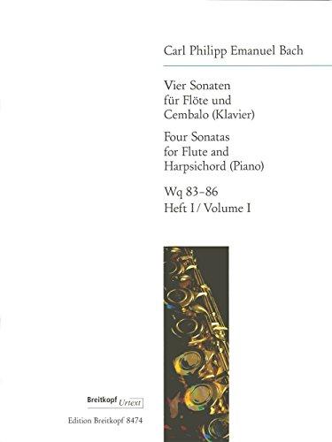 4 Sonaten für Flöte und Cembalo, Wotq 83-86, Heft 1: D-Dur / E-Dur. Flöte, Klavier
