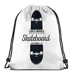 4195eC8R4vL. SS300  - KKs-Shop Mochila con cordón Bolsa Skateboarding Gráfico Patinaje Urbano Santa Monica California Skatepark Vintage…