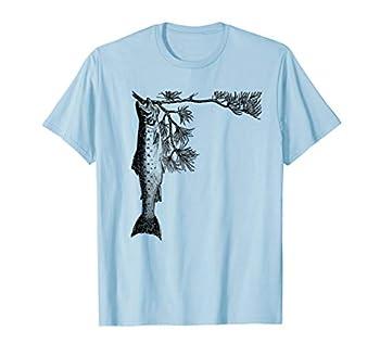 Retro Trout Fishing Tree Pine Shirt - Brook Fish Tee