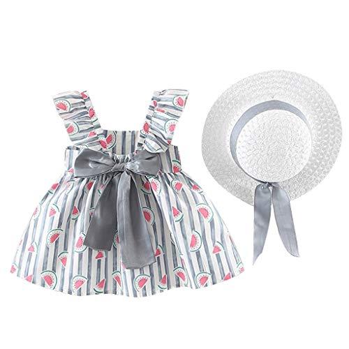 Julhold Peuter Baby Kids Meisjes Mouwloos Bloemen Ruched Bow Watermeloen Prinses Jurk Kleding Hoed Geweldig voor Casual