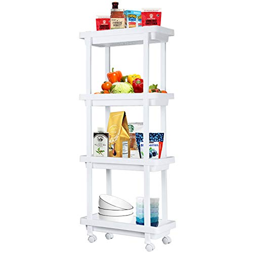Aogist Slim Storage Cart 4 Tier Narrow Shelving Unit Organizer Rolling Utility Cart Mobile Storage Tower Rack for Home Kitchen Bathroom Office Laundry Room Narrow Places(White)