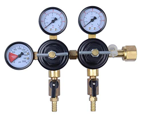 MOD Complete MDC99007 CO2 Beer Regulator Dual Pressure Kegerator Heavy Duty Features T-Style Adjusting Handle - 0 to 60 PSI-0-3000 Tank Pressure CGA-320 Inlet w/ 3/8' O.D. Safety Discharge 50-55 PSI