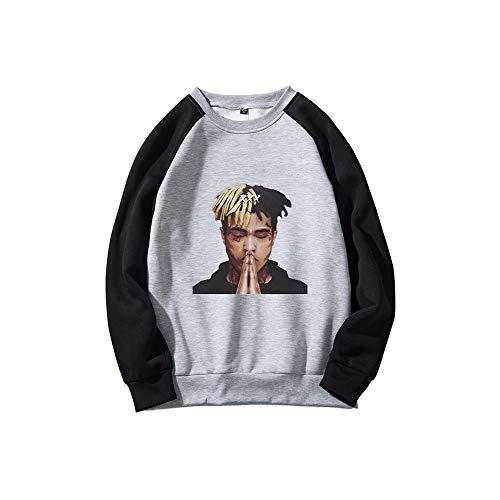 Kerlana Xxxtentacion Pullover Scoop Neck Sudaderas Casuales otoño Invierno Suelto Pullover suéter Deportivo Unisex (Color : Light Grey09, Size : S)
