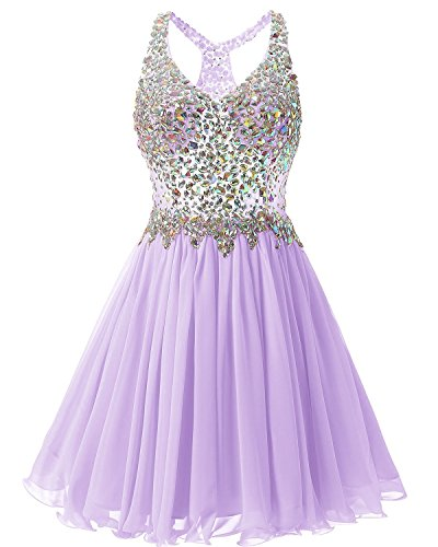 Fanciest Women's Beaded Chiffon Homecoming Dresses Short Prom Gown 2021 Cocktail Party Dress Lavender US4