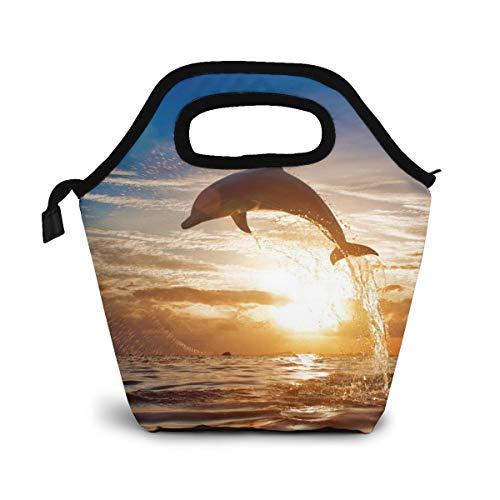 NiWCGP Delphine Im Sonnenuntergang Mittagessen Tasche,Lunch Bag Wiederverwendbare Picknick Tasche Thermisch Kühler Multifunktion Lebensmittel Behalter Mama