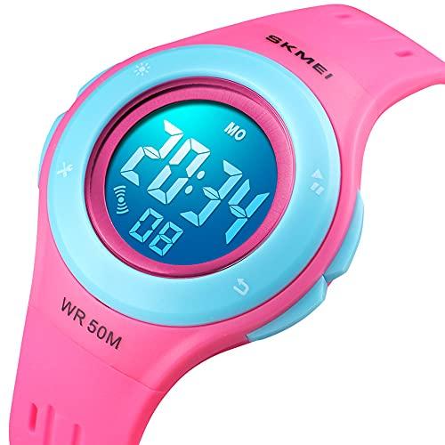 Digital Kinderuhr für Mädchen - 5 ATM Wasserdicht Outdoor Sports Digitaluhr Kinder Silikon Uhren mit Wecker/Stoppuhr/LED-Licht/Stoßfest/Datum,Elektronische Armbanduhr Rosa