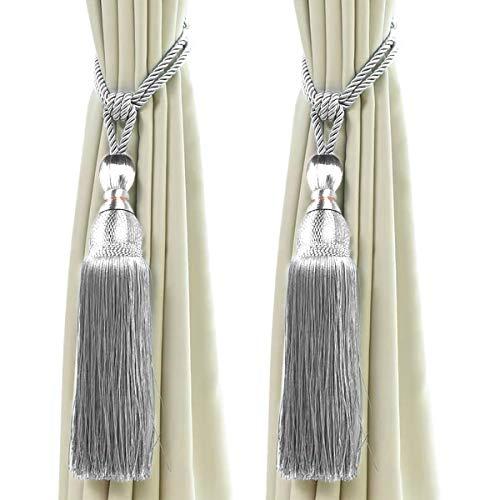 2 Stück Vorhang Raffhalter, Vorhang Clips Seil Bindeband, Vorhang Schnalle Holdbacks mit Quaste Ball Vorhang Dekoration (Silber)
