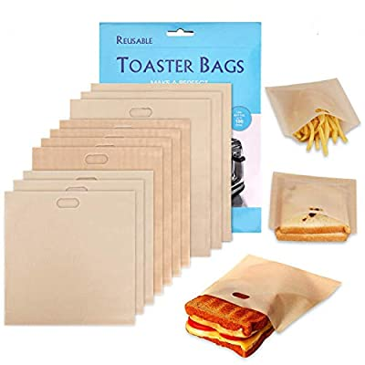 Toaster Bags - Non-Stick Reusable 3 Sizes Toaster Bags for Heat Resistant - FDA Approved, Perfect for Grilled Cheese Sandwiches, Chicken, Nuggets, Panini and Garlic Toasts - 10 Pcs