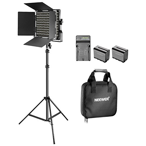 Neewer Kit de 660 LED Video Luz Regulable Bi-Color con Parasol y 200-centímetro Soporte de Luz,2-Pack 6600mAh Battería Li-Ion Recargable y Cargador para Fotografía Estudio Youtube Video(Negro)