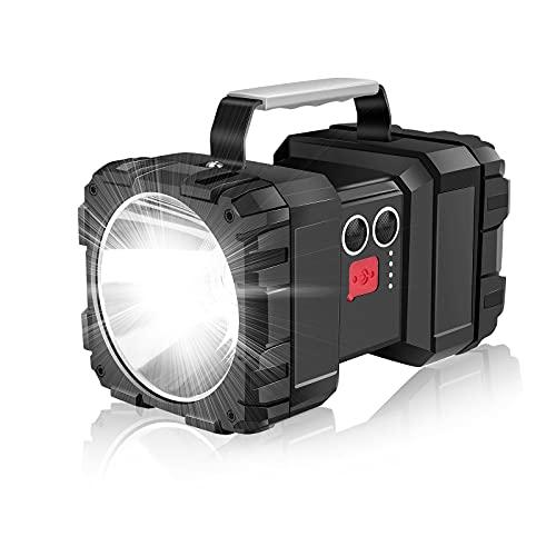 Linkax Linterna LED Recargable alta Potencia de 7 Modos, 800m Alcance de Iluminación Delanteras y Traseras con Advertencia Intermitente Linterna de Camping Impermeable para Senderismo, Pesca