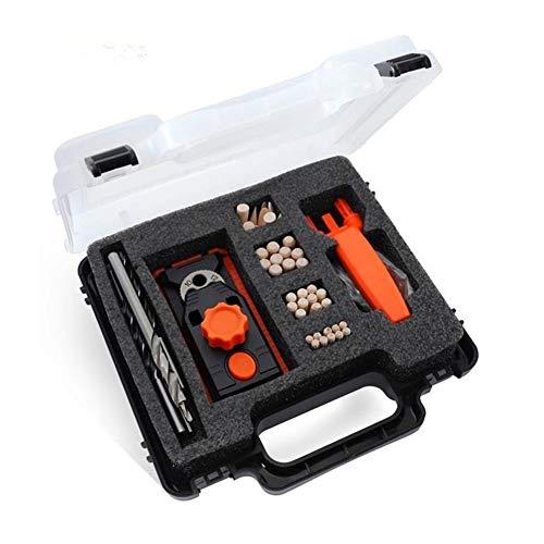 QPLKL Zimmerarbeiten 6/8/10 / 12mm Sackloch Jig Dübel Jig Kit Zimmerei Fixierloch Bohrführung DIY Holzbearbeitung mit Box (Color : Black)
