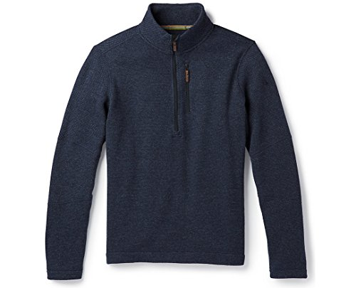 Smartwool Hudson Trail Fleece Sweater - Men's Lightweight Merino Wool Half Zip Performance Sweater Navy X-Large