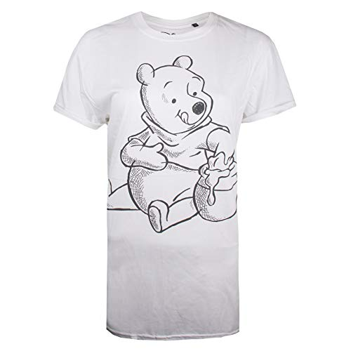 Disney Damen Winnie The Pooh-Sketch T-Shirt, Weiß (White White), 36 (Herstellergröße: SMALL)