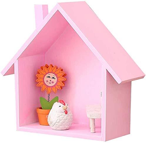 Wandstelling American massief hout kinderdagverblijf kamer kinderkamer decoratie bewaardoos creatieve wandbehang scheidingswand plank (kleur: roze) roze