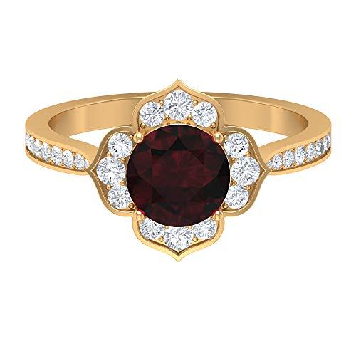 Anillo solitario granate de 7 mm, anillo de diamante HI-SI, anillo de flor de oro (calidad AAA), 14K Oro amarillo, Size:EU 62