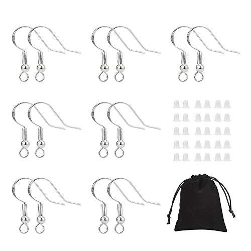 Xinstroe 240 Stück Ohrring Haken, 925er Sterling Silber-Ohrhaken mit Kugelspule Perfekt für DIY Ohrringe Ohrringe Selber Machen ssätze Mit Ohrringrücken und Tasche