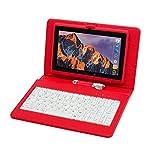 Tablette Tactile Ecran 7 Pouces, Tablet PC avec Clavier(AZERTY) Android Quad Core Ordinateur Portable, 8Go ROM, Double Caméras,...