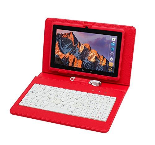 Tablette Tactile Ecran 7 Pouces, Tablet PC avec Clavier(AZERTY) Android Quad Core Ordinateur Portable, 8Go ROM, Double Caméras, WiFi, Bluetooth, Livré avec Stylo Tactile (Rouge)