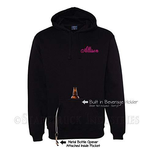 Gepersonaliseerde aangepaste naam Hoodie - Flesopener Hooded Sweatshirt - Gift voor Vrouw Meisje Bier Drinker Craft Thuis Brew Bruidsmeisje Gift