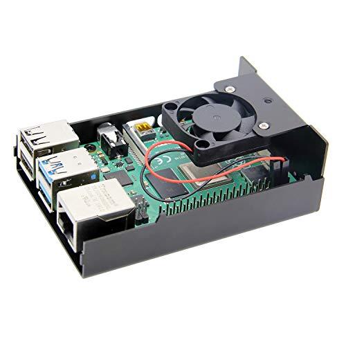 Geekworm ラズベリーパイ4(Raspberry Pi 4)用金属ケース、ファン付きのシェル、ラズベリーパイ4コンピューターモデルB適用 (黒色)