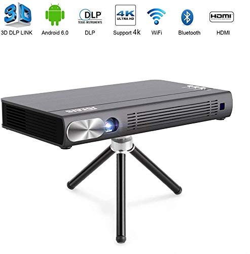 JOEAIS Mini Proyector, WiFi 3D DLP 200ANSI Portátil Bolsillo Vídeo Proyector 300