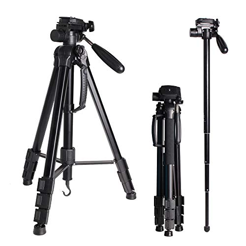 Trípode Portátil 176cm/69.3inch para Cámara Digital/DSLR/Gopro/Smartphone, Ligero Aluminio Trípode Monopie con Placa Liberación Rápida para Sony Nikon Camera Rotación 360° 4 kg Carga para Fotografía